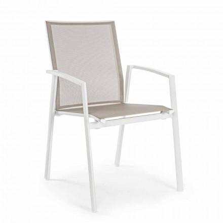 Chaise d'extérieur empilable en aluminium peint, Homemotion, 4 pièces - Odelia
