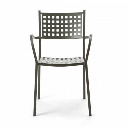 Chaise d'extérieur empilable en métal peint fabriqué en Italie, 8 pièces - Lina