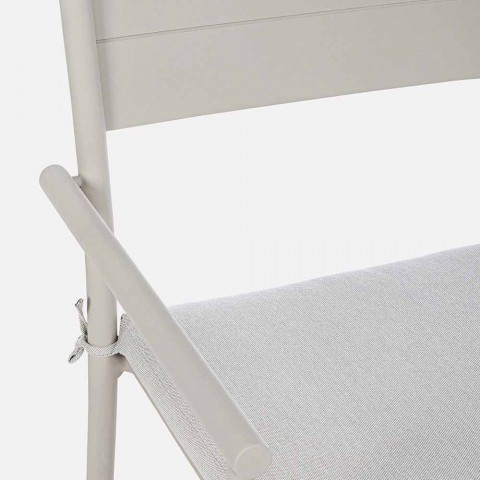 Chaise d'extérieur empilable Homemotion en tissu et aluminium, 4 pièces - Imani