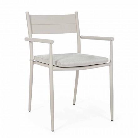 Chaise d'extérieur empilable en tissu et aluminium, Homemotion, 4 pièces - Imani