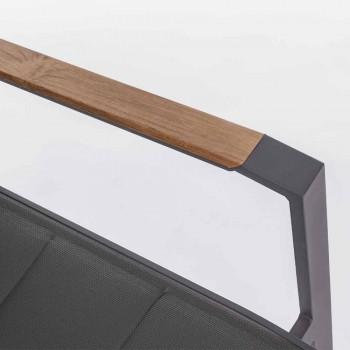 Chaise d'extérieur empilable en textilène et aluminium anthracite, 6 pièces - Urbain