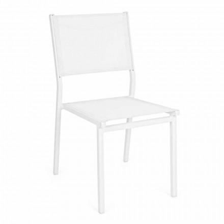 Chaise de jardin empilable en aluminium et textilène, design moderne - Franz