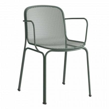 Chaise empilable d'extérieur en métal Made in Italy, 4 pièces - Verna