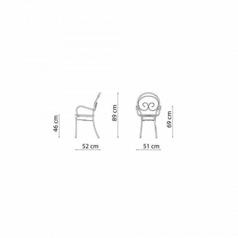 Chaise d'extérieur empilable en métal Made in Italy, 2 pièces - Authority