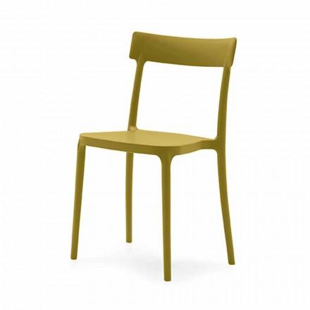 Chaise empilable intérieure ou extérieure en polypropylène Made in Italy,4 pièces - Argo