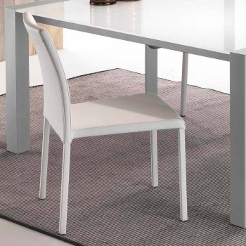 Chaise blanche en simil cuir Mayer