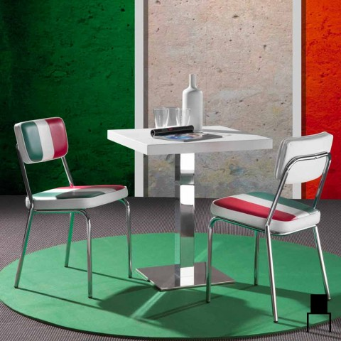chaise simili cuir avec un design drapeau italien Banda