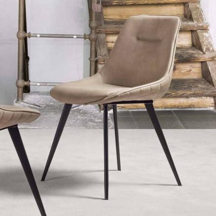 Chaise en Simili Cuir Effet Nabuk, Structure en Métal – Ermes