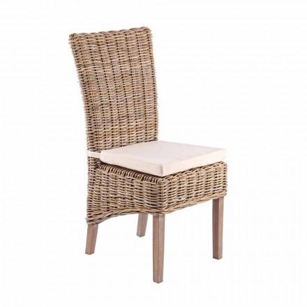 Chaise de jardin en bois avec coussin design pour l'extérieur - Taffi