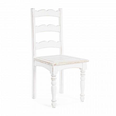 Chaise en manguier massif au design classique Homemotion - Blanche