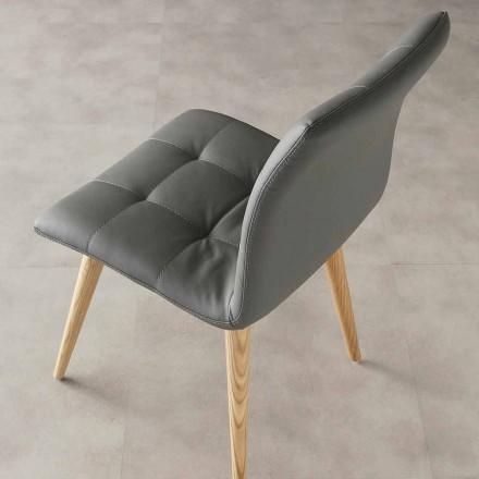 Chaise en bois massif et cuir écologique Viola, de design moderne