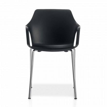 Chaise empilable en métal et polypropylène Made in Italy, 4 pièces - Caramel