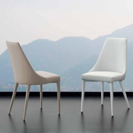 Chaise Nepitella, en métal et cuir écologique, design moderne