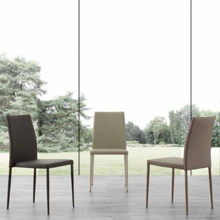 Chaise en métal avec revêtement en simili cuir Caserta, design moderne