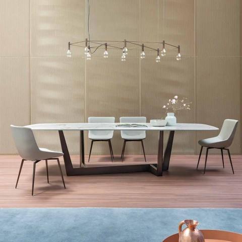 Fauteuil en cuir pour salle à manger fabriqué en Italie - Bonaldo Artika