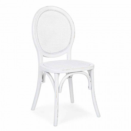Chaise design classique en rotin et bois d'orme Homemotion - Alfreda