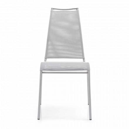 Chaise Living avec dossier haut en acier satiné Made in Italy, 2 pièces - Air High