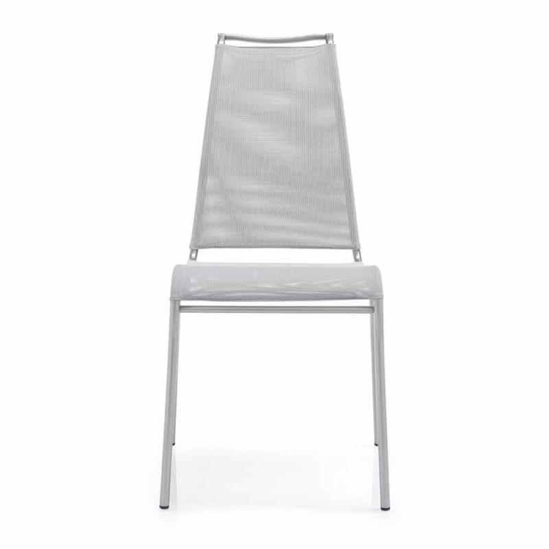 Chaise Living avec dossier haut en acier satiné Made in Italy - Air High