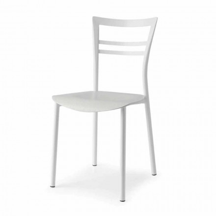 Chaise Design Living en Métal et Bois Multicouche Made in Italy, 2 pièces - Aller