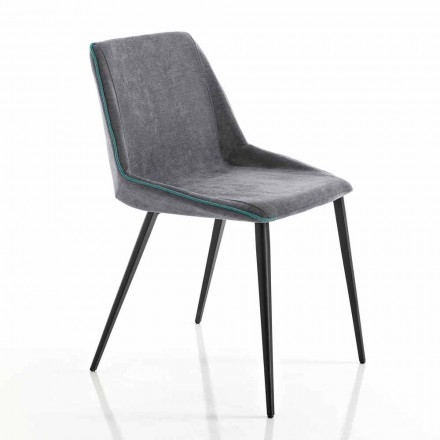 Chaise living en tissu et jambes en tranches made in Italy, Oriella