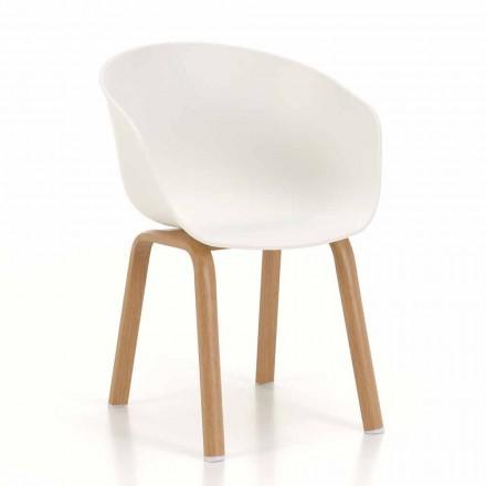Chaise moderne avec assise en polypropylène et pieds en métal, 4 pièces - Sea Bass