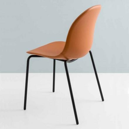Chaise moderne Connubia by Calligaris Academy en métal et cuir, 2 pièces