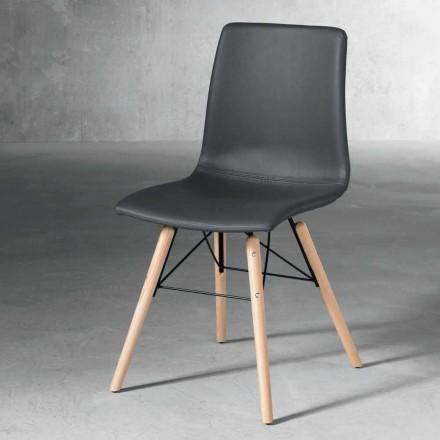 Chaise moderne en bois et éco-cuir noir fabriqué en Italie, Ranica