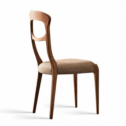 Chaise moderne en noyer massif canaletto et assise rembourrée, Gemma