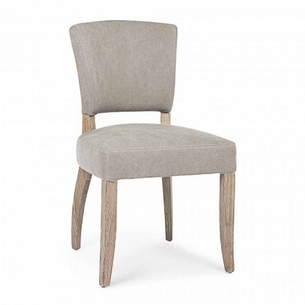 Chaise moderne de salle à manger en tissu et bois 2 pièces Homemotion - Prune