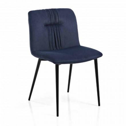 Chaise monocoque en tissu coloré et design métal noir 4 pièces - Florinda