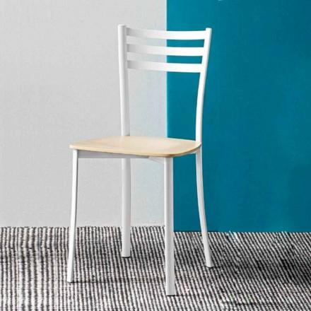 Chaise de cuisine moderne en métal blanc et bois de hêtre Made in Italy,2 pièces - Ace