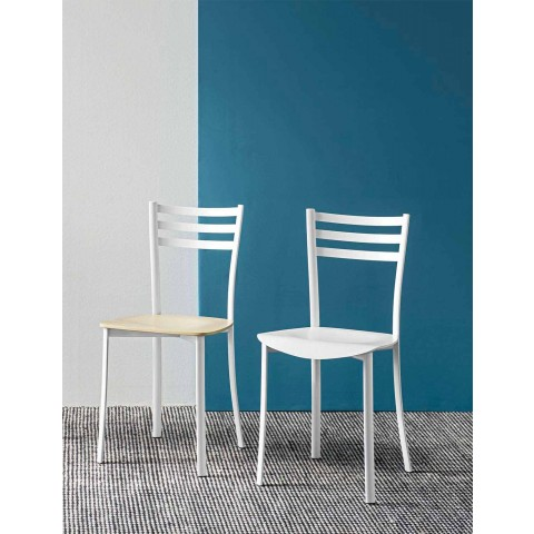 Chaise de cuisine moderne en métal blanc et bois de hêtre Made in Italy - Ace