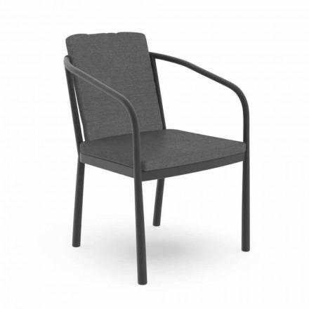 Chaise d'extérieur avec accoudoirs en aluminium et tissu - Sofy by Talenti