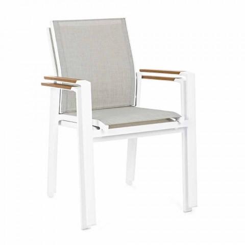Chaise d'extérieur empilable avec accoudoirs en aluminium Homemotion - Sciullo