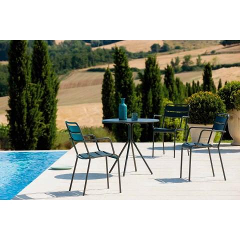 Chaise d'extérieur empilable enduite de poudre fabriquée en Italie, 4 pièces - Amina