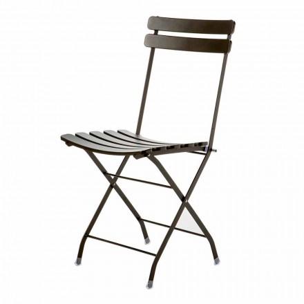 Chaise pliante d'extérieur en métal peint fabriqué en Italie, 4 pièces - Lori