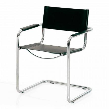Chaise pour Salle de Congrès ou Pour Salle Réunions en Cuir Noir et Métal – Cirillo
