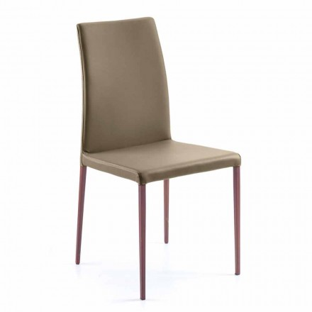 Chaise pour salle à manger en écocuir Abbie, faite en Italie