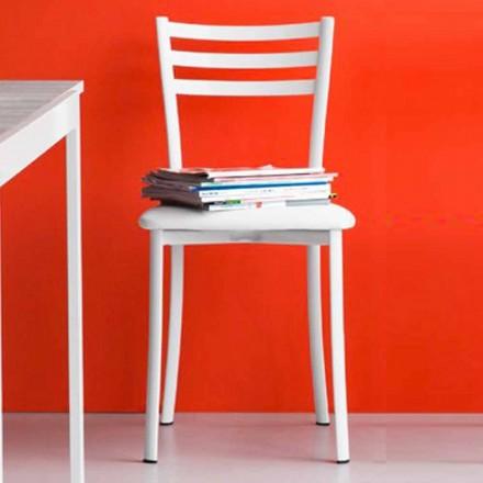 Chaise de salle à manger rembourrée en métal et simili cuir Made in Italy, 2 pièces - Ace