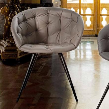 Chaise de salle à manger en cuir écologique avec pieds en métal peint noir - Ezio