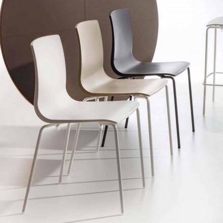 Chaise de salle à manger en polypropylène avec base en métal, 4 pièces - Alina