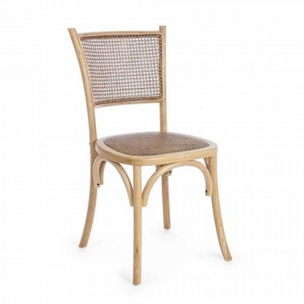 Chaise de salle à manger en rotin et bois Design classique Homemotion - Meridia