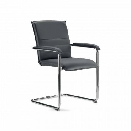 Chaise de salle de réunion ou de conférence en simili cuir noir et métal, 2 pièces - Oberon