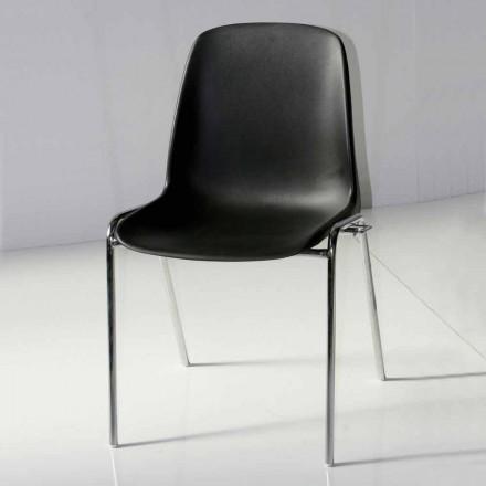 Chaise de Salle Réunions ou Salle de Congrès Moderne en Métal et ABS Noir–Zetica