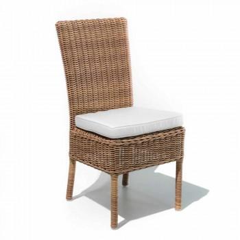 Chaise d'extérieur en rotin synthétique tissé et tissu, 2 pièces - Yves