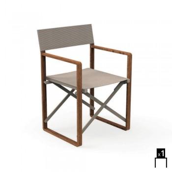 Chaise de directeur pliante pour usage extérieur en acajou et textilène Bridge