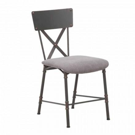 Chaise de salle à manger design industriel en MDF et métal - Elodie