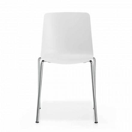 Made in Italy Chaise de salle à manger en métal et polypropylène, 4 pièces - Carlita