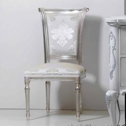 Chaise design classique en bois avec pieds argent antique Miel