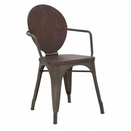 Chaise design industriel avec assise en bois et base en fer, 2 pièces - Delia